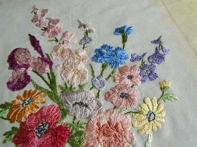 EXCEPTIONAL HAND EMBROIDERED 1890's PANEL~ ENGLISH GARDEN FLOWERS ~ SILK on SILK