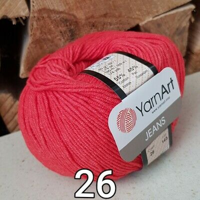 5 x 50g Yarn Art Jeans Cotton//Acrylic Mix Knitting Wool//Yarn red 26