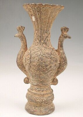 Unique Chinese Bronze Vase Peacock Old Decorative Collection Royal Home Decora