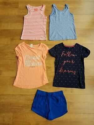 GIRLS SUMMER OUTFIT BUNDLE Blue Shorts + 4 T-Shirt Top Vest 8-9 Years - VGC