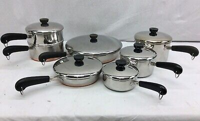 13 Piece Vintage Revere Ware 1801 Copper Bottom Stainless Steel Cookware Set