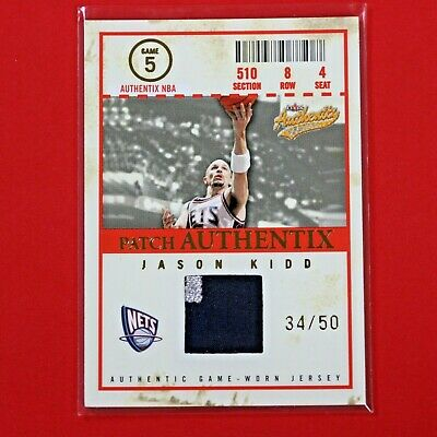 JASON KIDD 2004-05 FLEER AUTHENTIX GAME WORN NETS PATCH 2-COLOUR #ed 34/50