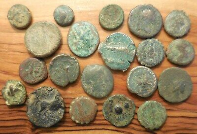 Lot of 20 Very Diverse Ancient Greek Coins, All Detailed, Largest 20 mm