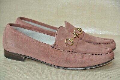 a50c0edde0e65 GUCCI 1953 ITALY Womens Sz 40.5 EUR / 10 Salmon Suede Leather Horsebit  Loafers
