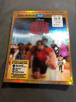 Wreck-It Ralph (Blu-ray/DVD, 2013, 4-Disc Set,  3D) No Code Disney Movie
