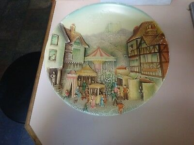 BOSSONS Chalk ware large wall plaque of Congleton ,Cheshire.Hand painted.