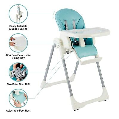 The Living Store Portable Deluxe Adjustable Baby High Chair Kids Feeding Dining