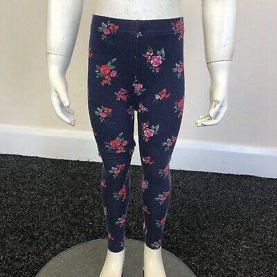 George Girls Navy Blue Red Floral Print Stretch Leggings Pants UK Age 3-4 Years