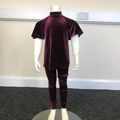 Next Girls Maroon Velour Roll Neck T-Shirt Leggings Outfit Set UK Age 4 Years