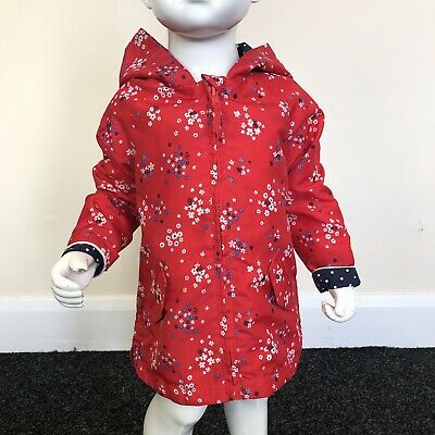 Mothercare Baby Girls Red Floral Hooded Jacket Rain Coat UK Age 12-18 Months