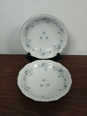 "(2) Johann Haviland Blue Garland 7 1/2"" SOUP / CEREAL BOWLS Bavaria Germany"
