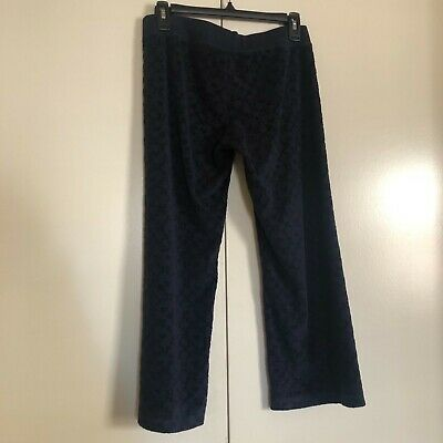 Juicy Couture Navy printed terry cloth lounge cropped pants drawstring petite
