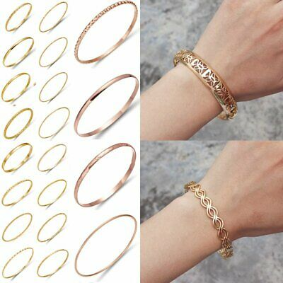 Elegant Women's  Simple Bangle Cuff Bracelet Wristband Jewelry Gift Rose Gold