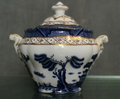 Sugar Bowl Bonbonniere Cover Pot Covered Earthenware English Real Old Willow