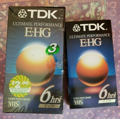 TDK 3 Pack+1Ultimate Performance EHG VHS Blank Tapes 6 Hours T-120 NEW