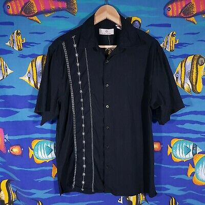Vintage Silk Shirt Size Large Black Retro Shirt Retro Rockabilly Bowling Grunge