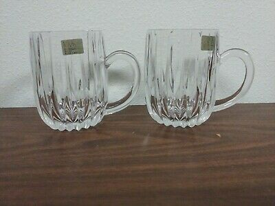 "(2) Mikasa Glass Crystal Park Lane Crystal Clear 4 3/8"" MUGS MINT New!"