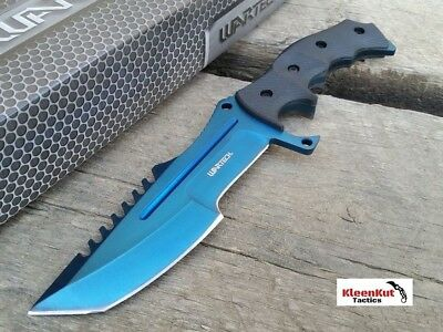 NEW CSGO Tactical BLUE Huntsman Knife Fixed Blade CS:GO Bowie Survival Hunting
