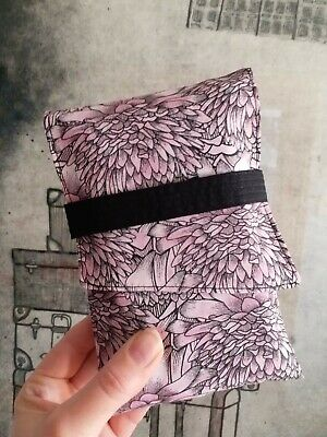 Pink Blooms Tarot Card Bag Flowers Floral Oracle Deck Foldover Pouch Black Strap