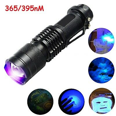 UV Ultra Violet LED Flashlight Blacklight Light 395/365nM Inspection Lamp Torch