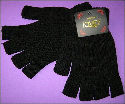 One Pair Lovey ADULT Black Winter Knitted Fingerless Gloves NWT FREE POST