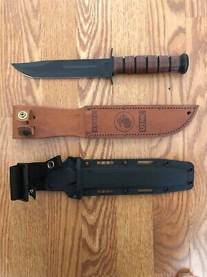 "KA-BAR 1217  USMC Fighting Knife 7"" Leather Sheath, extra Plastic Sheath"