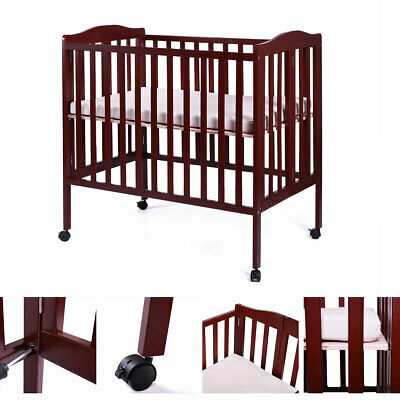 Foldable Pine Wood Baby Toddler Bed Nursery Furniture Safety Newborn Coffee