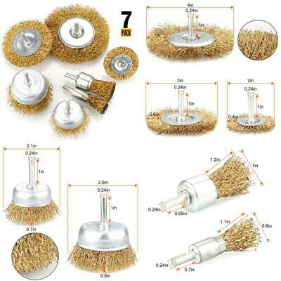 7Pcs Wire Brush Kit For Drill, Brass Coated Wire Brush Wheel  Cup Brush Set Wit