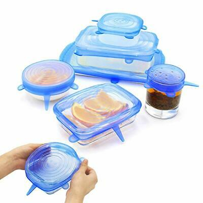 6pcs Reusable Blue Silicone Food Covers, Stretch Bowl Wraps Lids, Fit All Shapes
