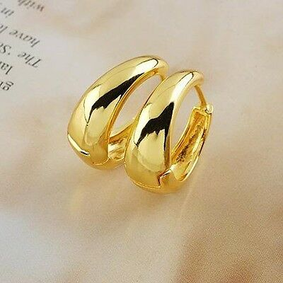 Women Hoops Earrings 18k Yellow Gold Filled Smooth Fashion Jewelry Birthday Gift