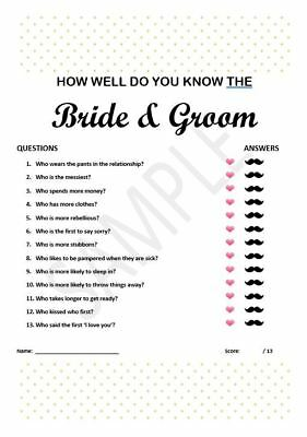 photo relating to How Well Do You Know the Bride Printable referred to as HOW Perfectly DO On your own Notice The Bride? Match - £11.99 PicClick United kingdom