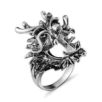 Special Vintage Stainless Steel Men Punk silver Hollow Dragon Head Knuckle Ring