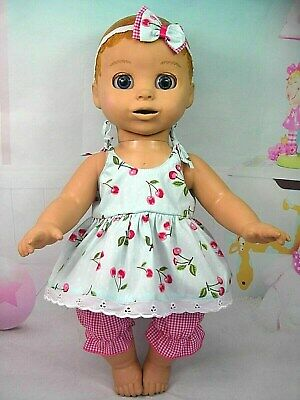 Dolls clothes for LUVABELLA DOLL~BLUE~ CHERRIES STRAP DRESS~BLOOMERS~HAIR BOW