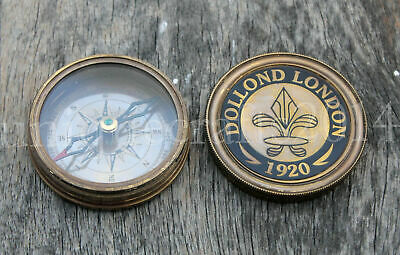 "Vintage Maritime Dolland London Antique Brass Compass Nautical Gift Item 2""."
