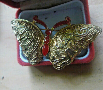 Vintage Estate Butterfly Brooch Enamel text >6cm Solid - Any 2 post all FREE