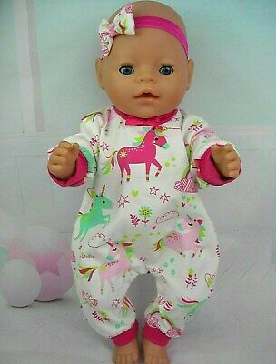 "Dolls clothes for 17"" Baby Born/Cabbage patch Doll~COLOURFUL UNICORN JUMPSUIT"