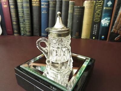Victorian Cut Glass & Silver Plate Condiment Pot - Lidded Condiment Pot