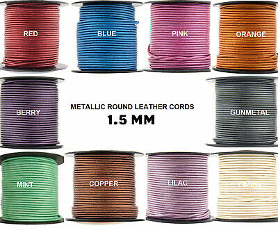 Xsotica® Metallic Shades Round Leather Cord 1.5mm