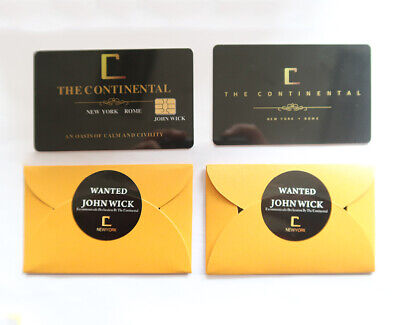 2pcs suit John Wick Continental 1:1 Hotel Key Card Movie Cosplay Accessories