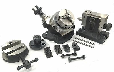 """3""""/80MM TILTING ROTARY TABLE+65MM 3JAWS +BACK PLATE+ER16+ROUND VICE M6 ClAMP KIT"""