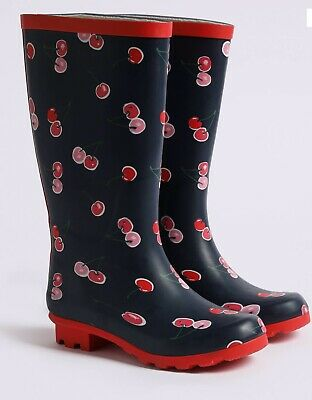 BNWT Cute Girls M&S Cherry Design WELLIES/Wellington Boots SIZE 2 (Older) New