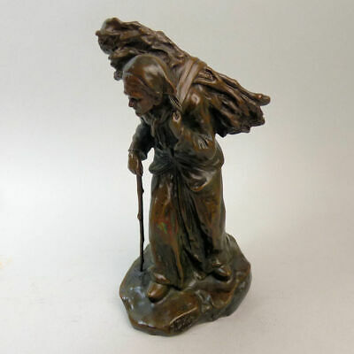 Antique French Signed Bronze Figure Of A Peasant Gathering Wood J. D'aste C.1890