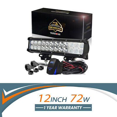 LED Work Light Bar 12Inch 72W + Mounting Brackets + Wiring Fit Jeep Truck