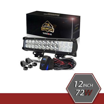 12 inch 72W White LED Work Light Bar Combo Kit For Driving Lamp Fit Jeep