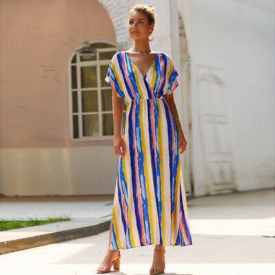 Ladies Fashion Boho V-Neck High Waist Striped Short Sleeve Leisure Sundress