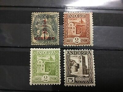 old stamps ANDORRA  x 4