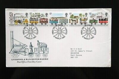 Post Office FDC - Liverpool & Manchester Railway Stamp Set - 1980 - Good Cond