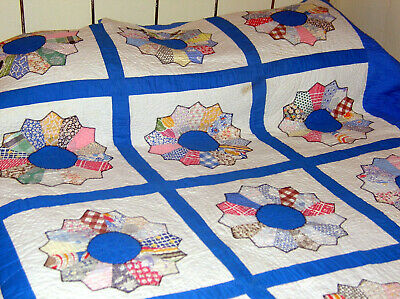 Vintage 30's Grandma's Garden* Cotton Feed Sack Quilt..Double Sz..Hand Quilted*