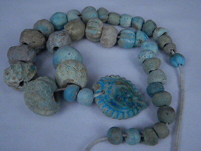 Ancient Fience Beads Strand Egyptian Roman 200 BC No Reserve #BD15001