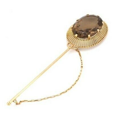Hatpin in style, Gold and Quartz Smoky; 16.6 Gr